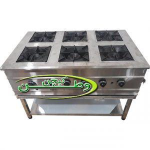 اجاق گاز آشپزخانه صنعتی ۶ شعله پایه دار رستوران