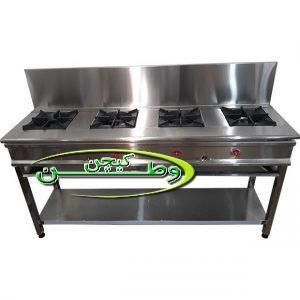 اجاق گاز رستورانی خطی چهار شعله فشار قوی