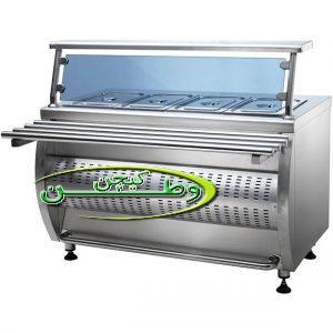 کانتر گرم ویترینی چهار لگن با پیشخوان رف ریل شیشه