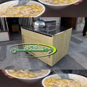 دستگاه بخارپز ذرت مکزیکی با میز استیل و چوبی