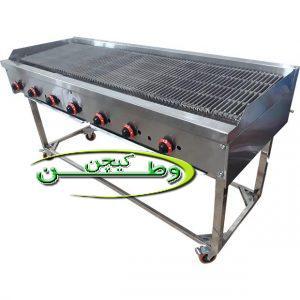 دستگاه گریل همبرگر ذغالی دو متری با صفحه چدنی