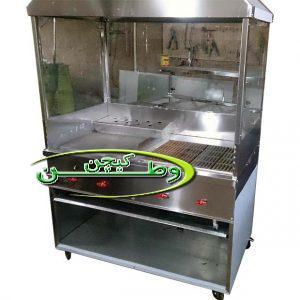 دستگاه گریل و برگر ذغالی کابین دار با هود و شیشه