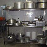 قفسه استیل نگهداری دیگ های آشپزخانه صنعتی