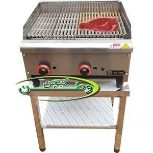 گریل همبرگر ذغالی رومیزی با صفحه چدنی شصت سانتیمتر