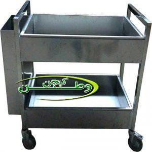 ترولی حمل ظروف کثیف دوطبقه استیل با سطل