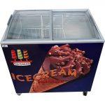 فریزر بستنی کوچک صندوقی سیصد لیتری با درب کشویی شیشه ای