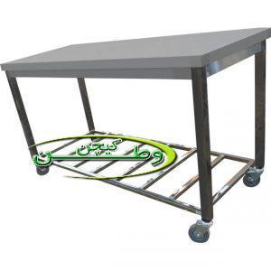 میز کار استیل چرخ دار با پاتروکی کارگاهی