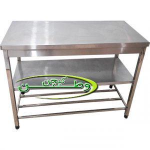 میز کار صنعتی استیل طول۱۵۰سانتیمتر دوطبقه