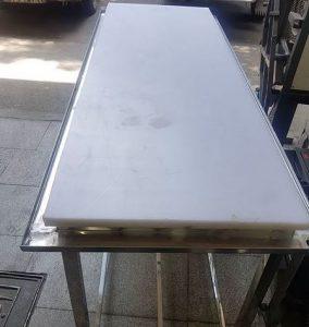 میز کار فایبرگلاس با پایه استیل